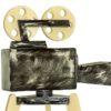 Fekete koptatott kamera fából